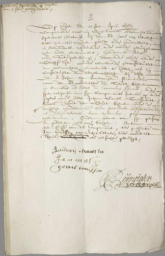 Eerste Akte van Olenz notarissen met Akte uit 1631 protocolnummer 1503